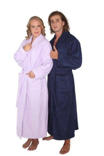 "Optimal Style Full Ankle Length Turkish Terry Cotton Long Bathrobe with up to 59"" Length! $88.50"