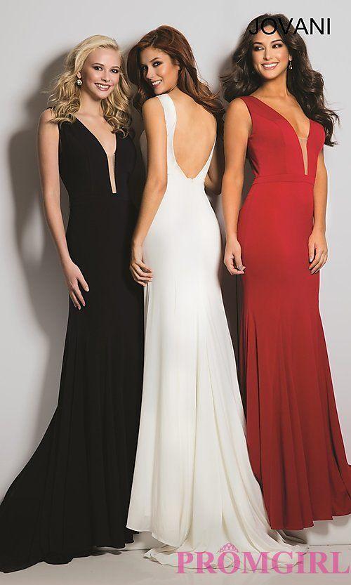 Open Back Long Jovani Prom Dress with a Deep V-Neck
