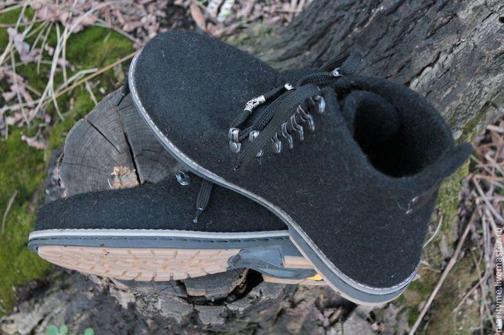 """Купить Валяные ботинки """"Freedom"""" - черный, Валяные ботинки, зимняя обувь, подарки для мужчин"""