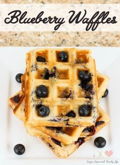 Blueberry Waffles are a delicious breakfast for blueberry lovers. These fruit waffles are filled with blueberries and can be topped with whipped cream, blueberry syrup or maple syrup.  - Blueberry Waffles Recipe from Sugar, Spice and Family Life