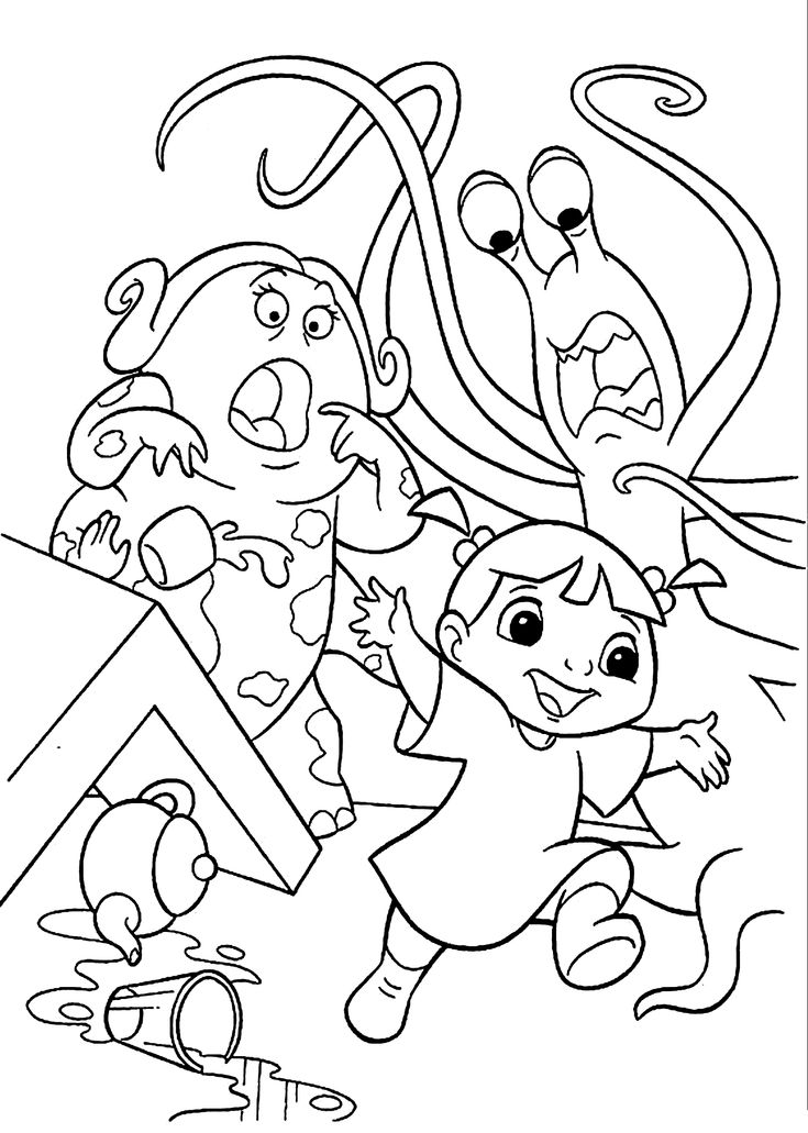 look boo is discovered in the restaurant print out and have fun with this amazing coloring sheet from monsters inc movie - Space Jam Monstars Coloring Pages