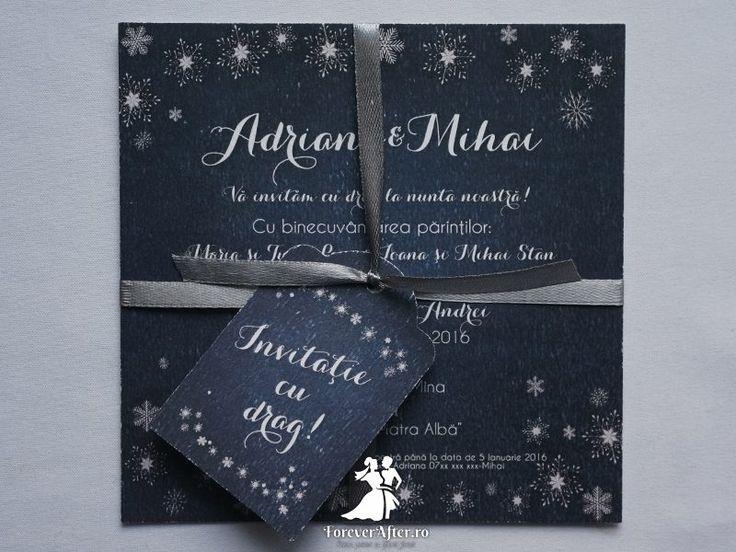 Invitatia de nunta Winter Wonderland - o invitatie perfecta pentru nunti de iarna | ForeverAfter.ro
