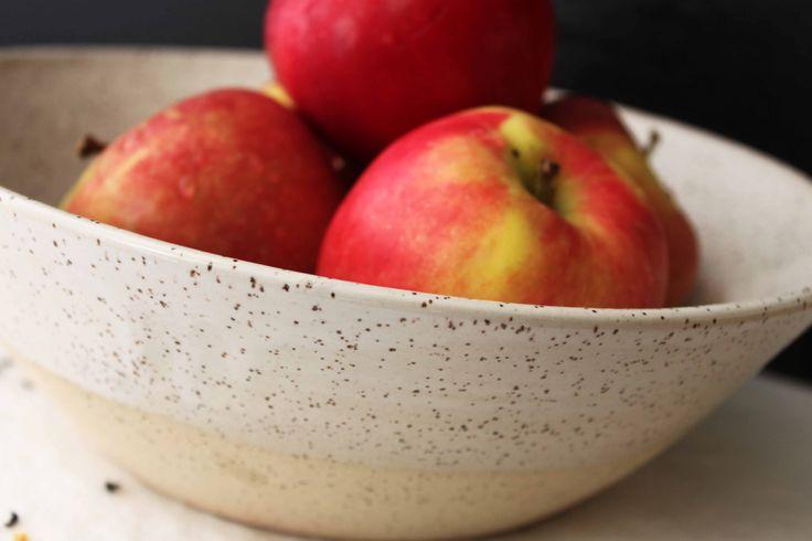 Stoneware white glazed serving bowl - Stinging Nettle Studio, Vancouver.