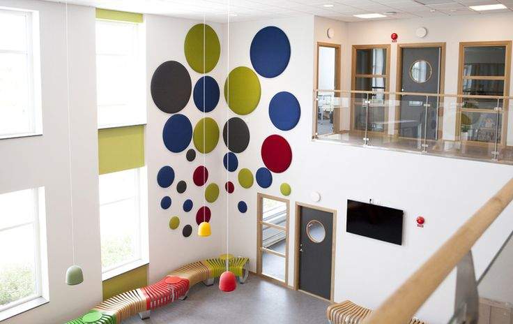 """Woolbubble circles """"bubble"""" up happily in this school atrium. Look great. Sound better!"""