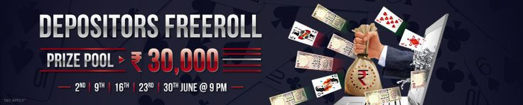 Join Depositors Freeroll rummy tournament and win cash prizes worth Rs.30,000.