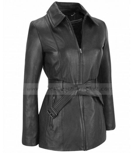 Ladies Black Leather Jacket for sale at Discounted Price $220.00 Women Belted Zip Coat Shiny Color Coat Style Jacket. #beltedcoat #zipcoat #blackjacket #leatherjacket #jacket #womenjacket