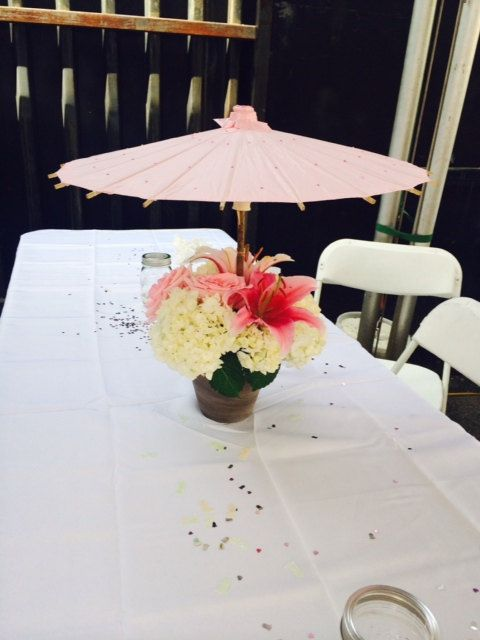 Parasol bridal baby shower centerpiece by deliamarrufo on