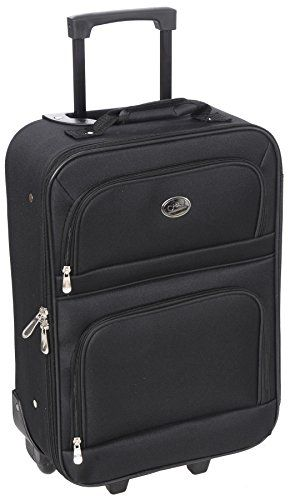 "Jetstream Travel Carry On Suitcase On Wheels With Extendable Handle  Compression straps keep your items neatly packed  20 inch retractable handle to make travel a breeze, along with a covered reinforced handle for easy lifting  2 Front zipper pockets for easy access to your most important items  In-line wheels. Suitcase Weighs: 4.45lbs. The Handle extends 42""  Suitcase Dimensions Without Wheel Measurements:17.75""x 6.75""x 12.75"". Dimensions including wheels: 20""x 6.75""x 12.75"""