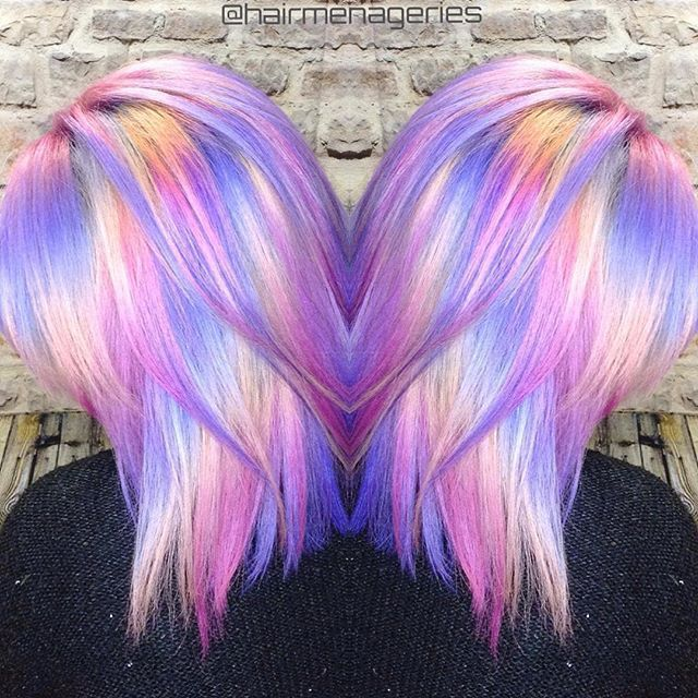 Image result for rainbow hair Holographic hair, Hair