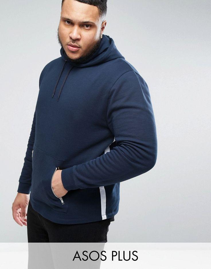 ASOS PLUS Hoodie with Tape Detail & Zip Pockets - Navy