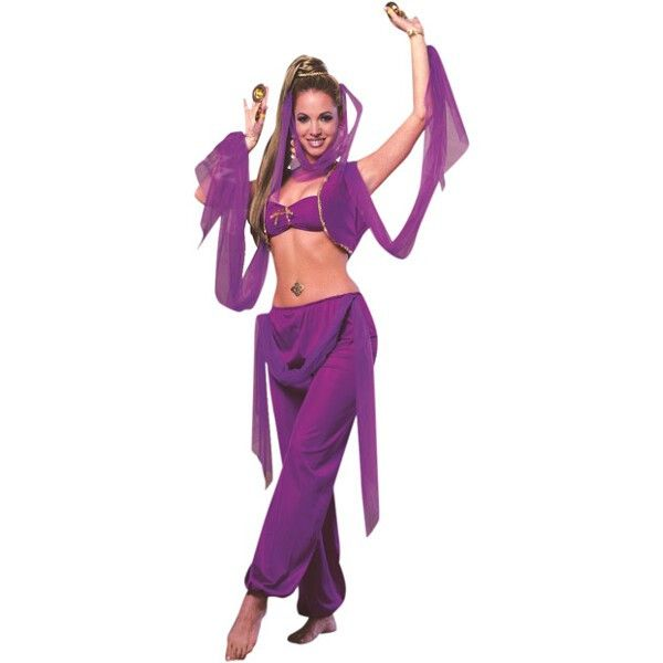This Arabian Princess costume is great for any belly dancer or Vashti outfit. Vivid purple color and classic Middle Eastern design make this Arabian dancer outfit ideal for any costume occasion. For a
