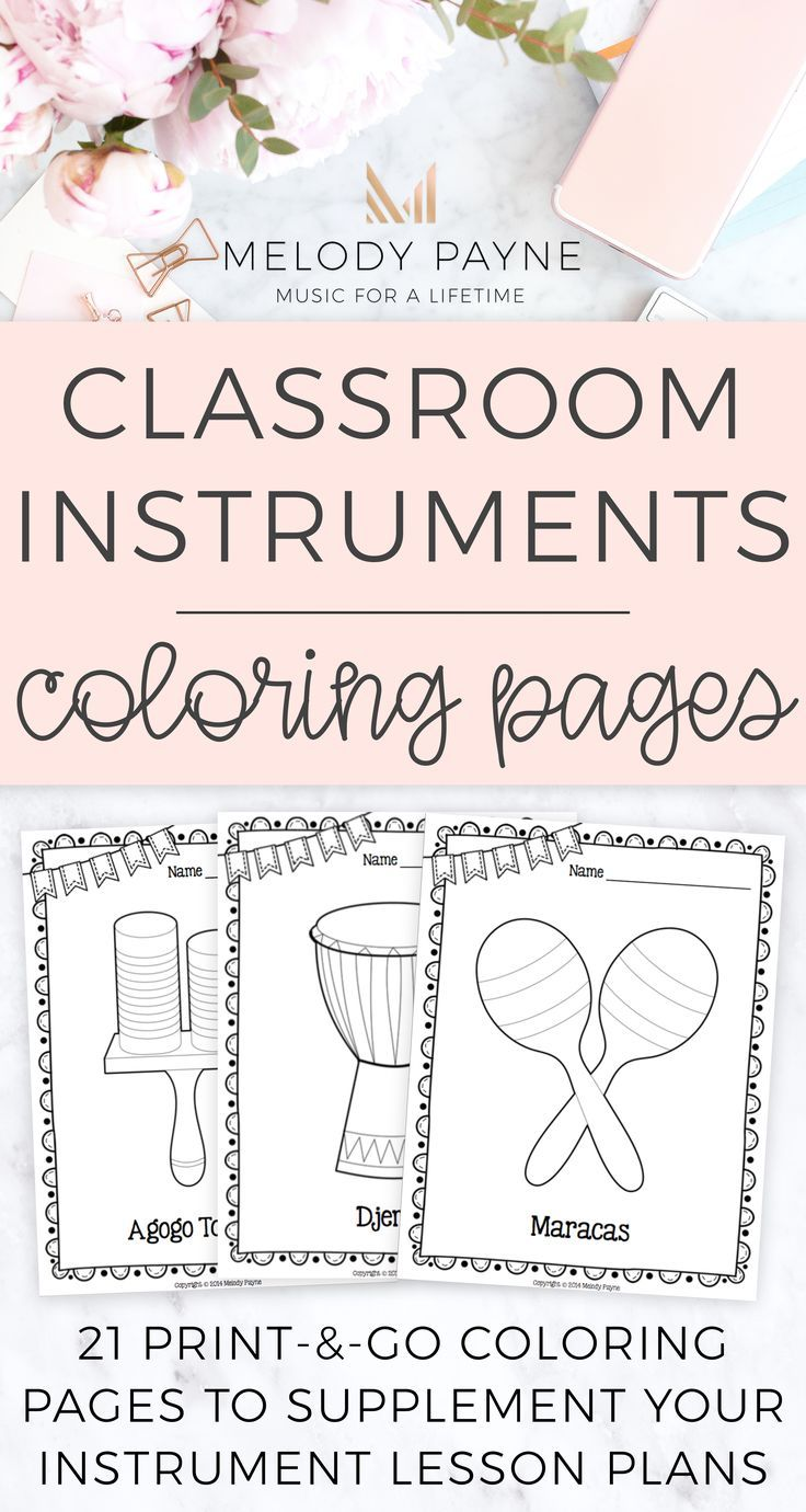 Music Coloring Sheets {21 Classroom Percussion Instruments