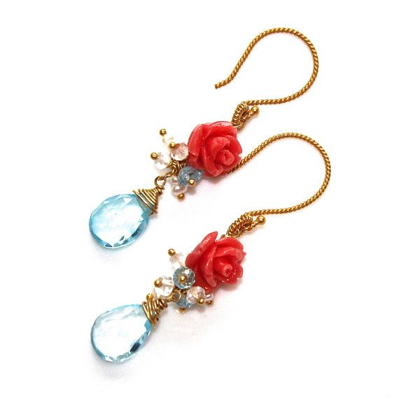 Blue Topaz Earrings Carved Coral Rose Dangle Earrings by FizzCandy