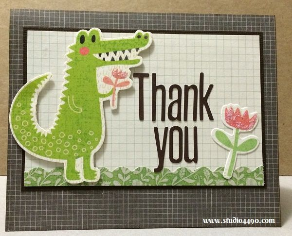 """Thank You Materials used: Stamps - Chit Chat, Warm Hearts (Paper Smooches); Alphabeans - Fig Brown (Jillibean Soup); Die Cuts - Hello Sunshine (KAISERCraft); Designer Paper - 6-1/2"""" Paper Pad - Hello Sunshine (KAISERCraft), Paper from Simple Stories; Cardstock (American Crafts) and Stickles - Crystal (Ranger)."""