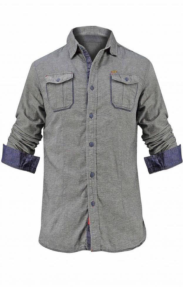 Ανδρικό πουκάμισο τζιν με τσέπες   Άνδρας - Πουκάμισα   Metal Denim ανθρακί