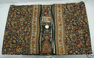 Vintage Indian Floral Printed 100% Pure Real Silk Saree Black Sari Craft Fabric