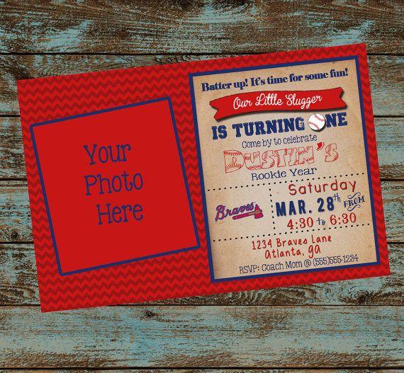 Baseball Birthday Invitation, Little Slugger Turning One, Baseball Birthday Party, First Birthday Baseball Digital File Invitation