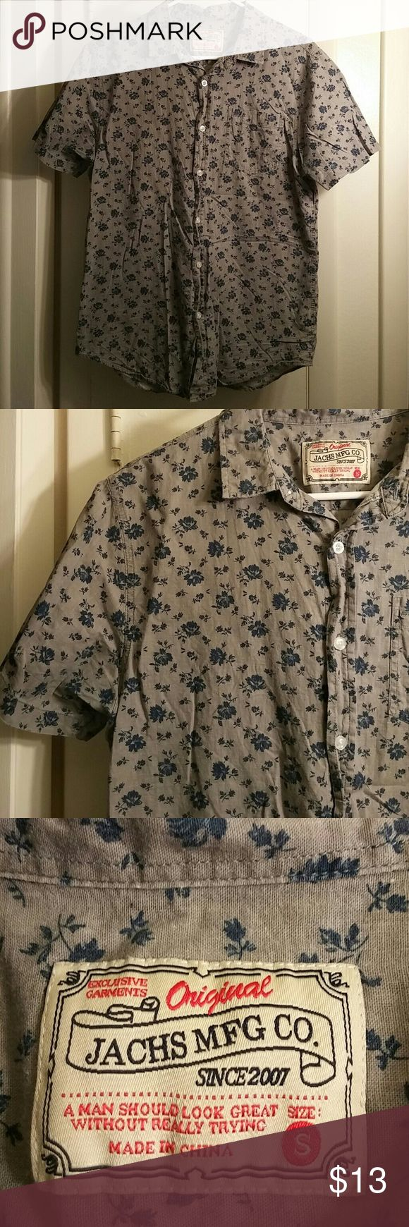 Floral button down shirt Grey with blue floral short sleeve button down shirt. Lightly worn. Men's small. Jachs Mfg Co. Shirts Casual Button Down Shirts
