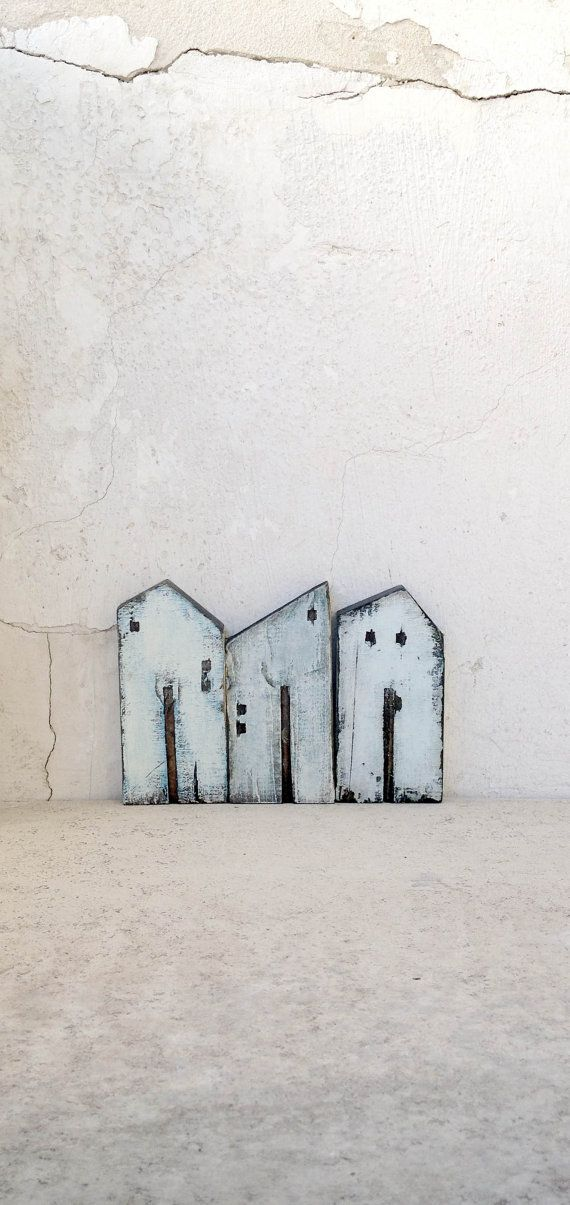 Set of 3 recycled wood old look houses painted by VesnaGusmanArt