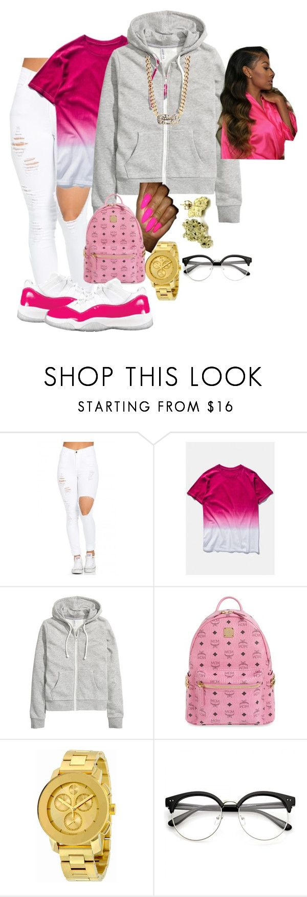 """""""pink"""" by queenaaliiyah ❤ liked on Polyvore featuring WithChic, H&M, MCM, Movado and Paul's Boutique"""