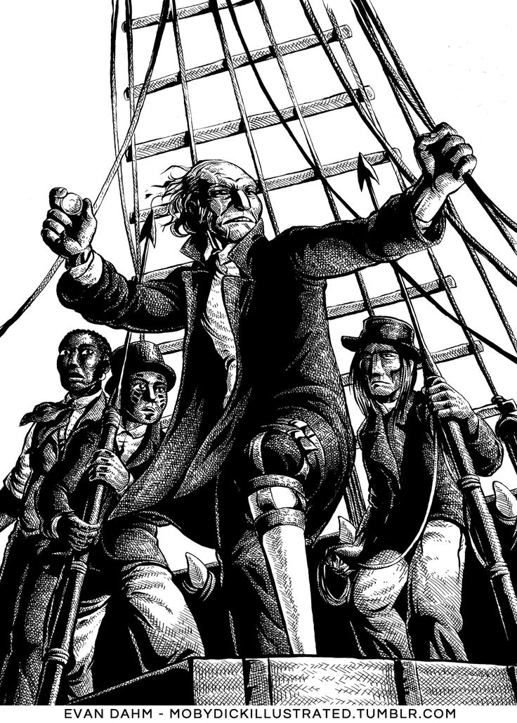 """Moby-Dick Illustrated: Chapter 36, """"The Quarter-Deck.""""  What do ye do when ye see a whale, men?"""
