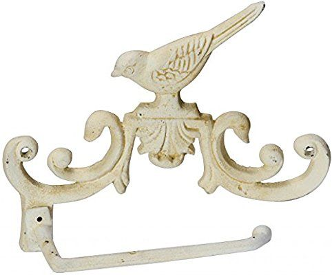 Shabby Chic Style Metal wall mounted Toilet Roll holder with Bird Detail