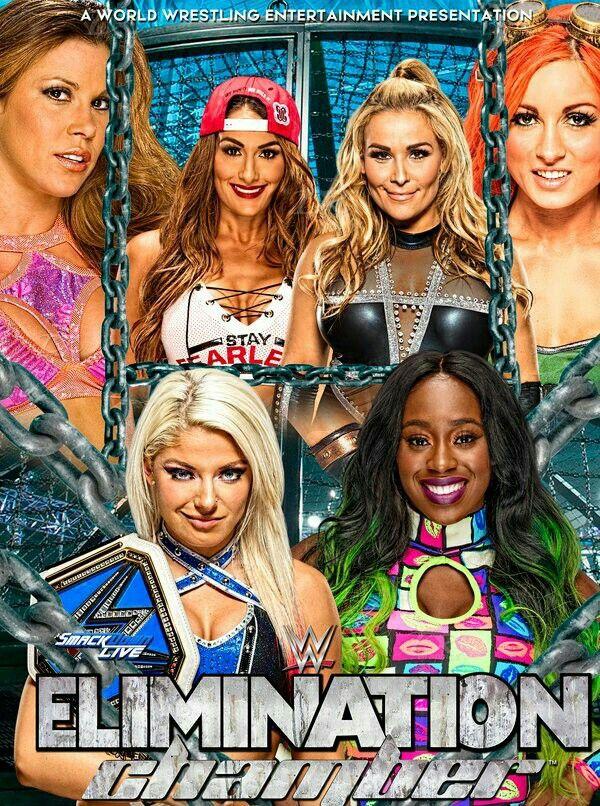 Elimination Chamber 2017 Mickie James vs Becky Lynch winner Becky Lynch, Nikki Bella vs Natalya winner double count out & Alexa Bliss (C) vs Naomi winner & New SD Women's Champion: Naomi