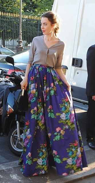 ulyana sergeenko; floral maxi can be played up or down. Cardi as top with maxi