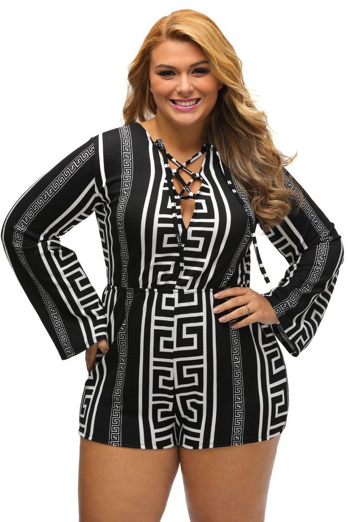 Combi Femme Grande Taille Raye Impression Noir Lace-up Manches Longues MB64182-2P – Modebuy.com