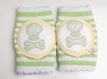 Crawlings Baby Knee Pads - AppleGreen Skull & Crossbones
