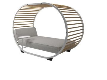 Gloster, Cradle Loungebed Met Gepoedercoat Aluminium Frame En Buffed  Finished Teak Latten. Luxueus Loungen