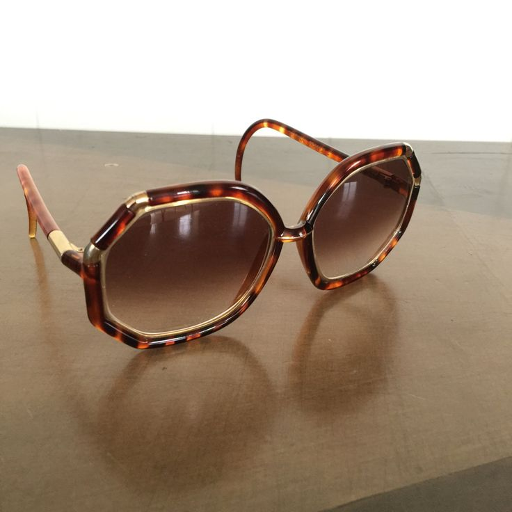 Vintage Ted Lapidus Womens Sunglasses 1970s Large Frames Tortoise Gold by RetroResaleSanDiego on Etsy