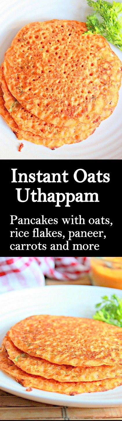 Healthy and tasty uthappams ( savory pancakes ) with oats, carrot, rice flakes and paneer..