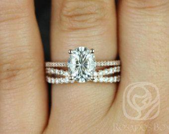 Rosados Box Blake 9x7mm & Lima 14kt Rose Gold Oval F1- Moissanite and Diamonds Cathedral Wedding Set