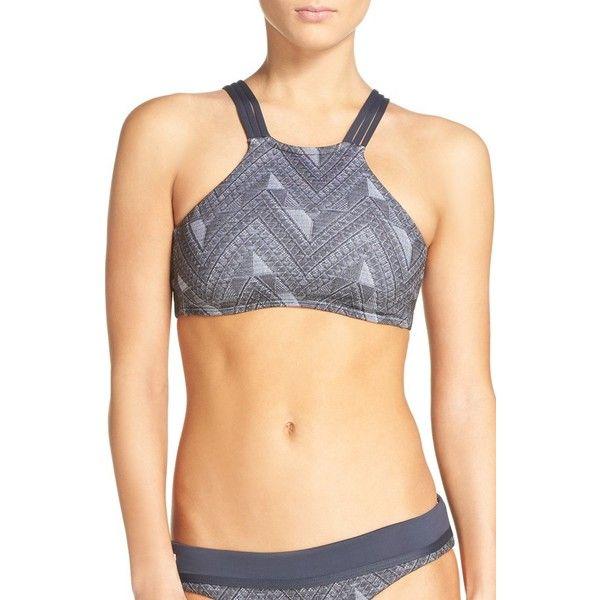 Women's Maaji Jacquard Lofty Reversible Bikini Top ($68) ❤ liked on Polyvore featuring swimwear, bikinis, bikini tops, dark grey, high neck swimsuit top, tankini tops, swim tops, strappy bikini top and maaji swimwear