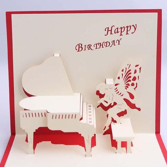 Handmade 3d Pop Up Card Happy Birthday Piano Fairy Butterfly Angel Wings Music Fan Best Happy Birthday Piano Personalised Christmas Cards Pop Up Card Templates