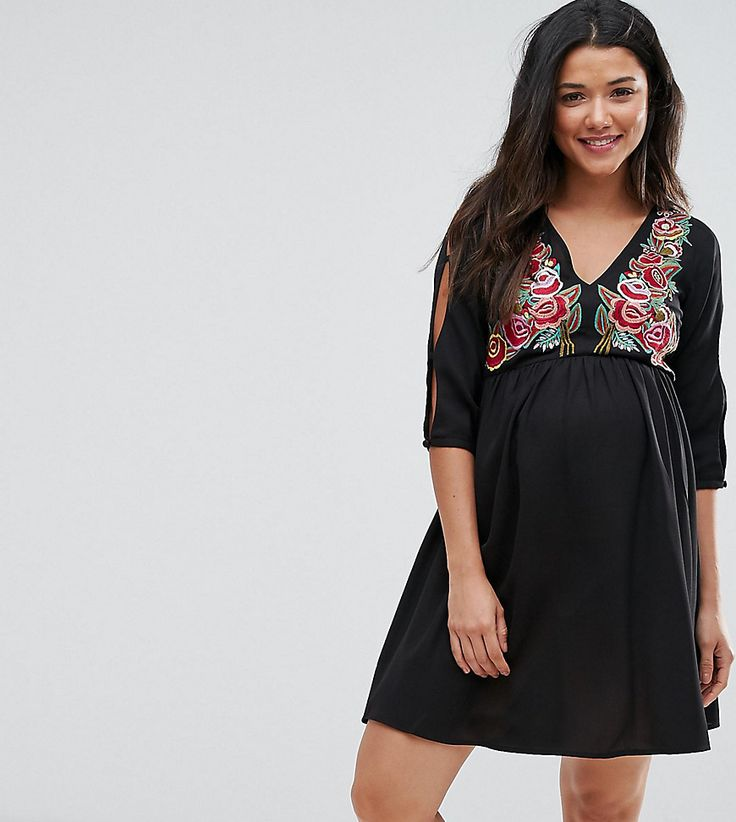ASOS Maternity Dress with Embroidery - Black
