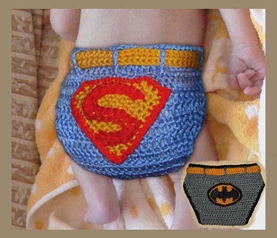 Baby Superman and Batman Diaper Cover  Tutorial por CathyrenDesigns