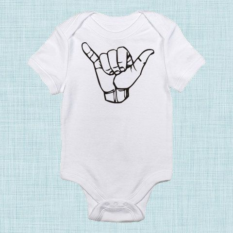 Hang Loose Funny Baby Clothes Surfer Baby Trendy Baby by BabeeBees, $15.00