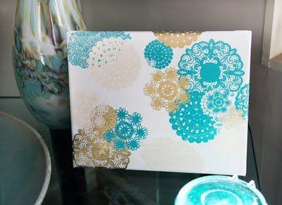 pretty DIY idea! doily's on plain canvas.