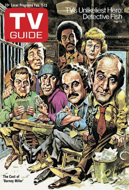 TV Guide February 7, 1976 - Jack Soo, Ron Glass, Barbara Barrie, Max Gail, Gregory Sierra, Hal Linden and Abe Vigoda of Barney Miller.  Illustration by Jack Davis.