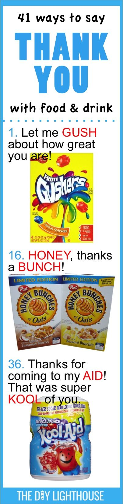 41 Ways to Say THANK YOU with Food & Drink | cute and clever ideas for thank you gift to a teacher, students, neighbor, friend, or loved one | How to say thank you with food and drink puns or candy
