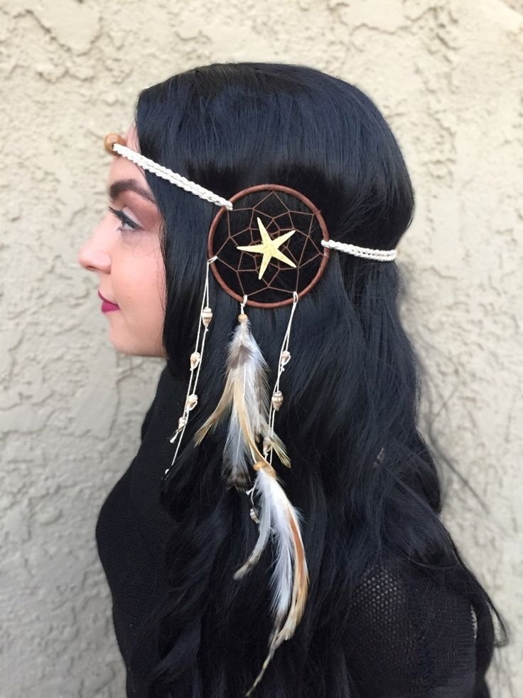 "Stunning dreamcatcher headband, handmade with a 3"" ring (in diameter). This dreamcatcher features a starfish in the center of the ring, natural feathers dangling from the middle, and sea shells hangin"