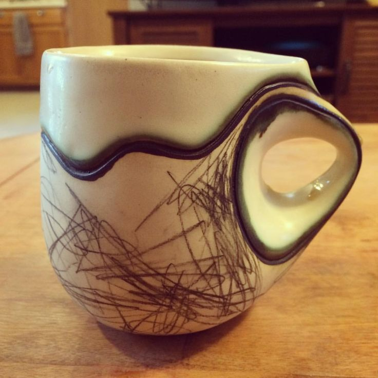 Drinking some coffee this morning out of a mug made by @audreyrosulek  Pottery mugs, Clay mugs