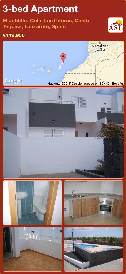 3-bed Apartment in El Jablillo, Calle Las Piteras, Costa Teguise, Lanzarote, Spain ►€149,950 #PropertyForSaleInSpain