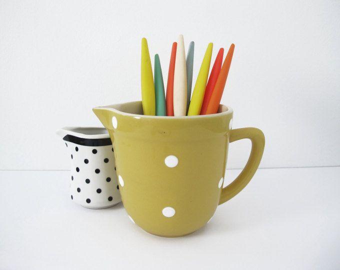 Vintage Diana Ware Yellow Polka Dot Milk Jug - 1950s https://www.etsy.com/au/shop/HelloBambiVintage