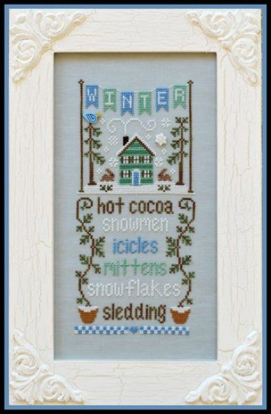 Winter Seasonal Celebrations is the title of this cross stitch pattern from Country Cottage Needleworks series titled 'Seasonal Celebrations' that is stitched with DMC threads and Gentle Art Sampler threads (Grape Leaf) and Weeks Dye Works (Cocoa)