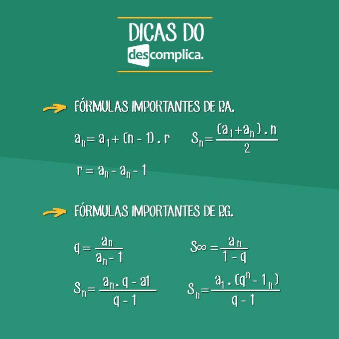 Fórmulas de Progressão Aritmética (P.A.) e Progressão Geométrica (P.G.). Clique…