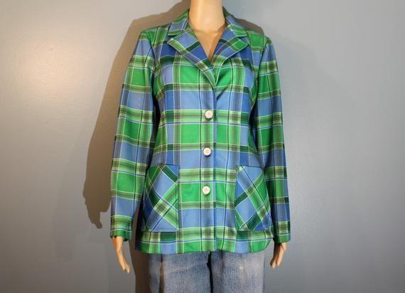 UNISEX VINTAGE JACKET polyester 1970s plaid sport coat Christenfeld of California