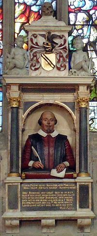 Shakespeare's funerary monument - Wikipedia, the free encyclopedia erected during his lifetime  location in the holy trinty church.  Proof Shakespeare is black